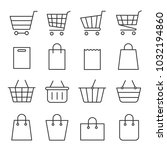 shopping cart and bag set. four ... | Shutterstock .eps vector #1032194860