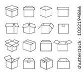 carton boxes icon set. paper... | Shutterstock .eps vector #1032194866