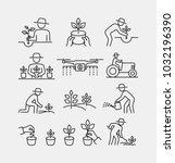 gardening and planting vector... | Shutterstock .eps vector #1032196390