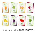 vector vegetable posters ... | Shutterstock .eps vector #1032198076