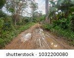 rural road in the rainy season | Shutterstock . vector #1032200080