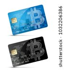 bitcoin symbol as credit card... | Shutterstock .eps vector #1032206386