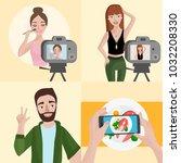 vector set of different... | Shutterstock .eps vector #1032208330