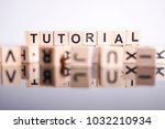 tutorial word cube on reflection | Shutterstock . vector #1032210934