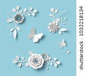 3d rendering  white paper... | Shutterstock . vector #1032218134
