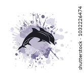 dolphin in paint splashes a... | Shutterstock .eps vector #1032226474