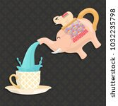 thailand elephant water pitcher ... | Shutterstock .eps vector #1032235798