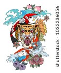 traditional japanese tattoo... | Shutterstock .eps vector #1032236056