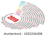 vector round calendar 2019 on... | Shutterstock .eps vector #1032236308
