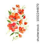 watercolor bouquet of... | Shutterstock . vector #1032244870