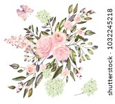 watercolor drawing of twig with ... | Shutterstock . vector #1032245218