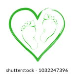 baby feet on the background of... | Shutterstock .eps vector #1032247396