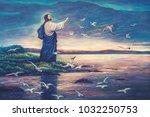 Oil Painting Of Jesus Standing...