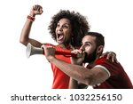 young couple fan celebrating on ... | Shutterstock . vector #1032256150