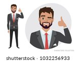 positive guy smiling and... | Shutterstock .eps vector #1032256933