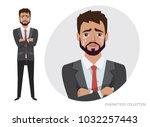 crying man. negative emotion... | Shutterstock .eps vector #1032257443