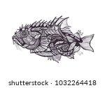 fish  graphics  raster  pattern | Shutterstock . vector #1032264418