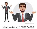 young men doubt  no ideas.... | Shutterstock .eps vector #1032266530