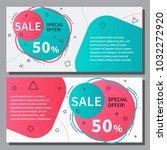 flat linear promotion ribbon...   Shutterstock .eps vector #1032272920
