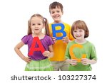 School children with abc letters - ready to learn, isolated - stock photo