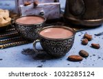 traditional hot cocoa in a mug...   Shutterstock . vector #1032285124