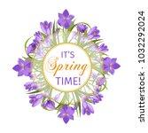 crocus flowers spring floral... | Shutterstock .eps vector #1032292024