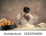 crazy chef in the kitchen with... | Shutterstock . vector #1032296830