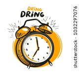 wake up call  alarm clock is... | Shutterstock .eps vector #1032297076