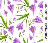 crocus flowers spring pattern... | Shutterstock .eps vector #1032300706