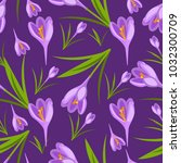 crocus flowers spring pattern... | Shutterstock .eps vector #1032300709