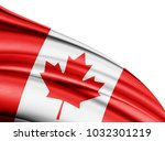 canada   flag of silk with... | Shutterstock . vector #1032301219