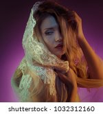 fashion  beautiful blonde with... | Shutterstock . vector #1032312160