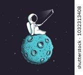 funny astronaut make selfie on...   Shutterstock .eps vector #1032313408