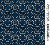 golden arabesque floral mosaic... | Shutterstock .eps vector #1032314230
