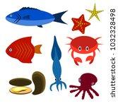 big vector set of sea creatures | Shutterstock .eps vector #1032328498