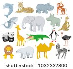 wild animals australia  asia ... | Shutterstock .eps vector #1032332800