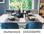 stylish blue and white dining...   Shutterstock . vector #1032336490