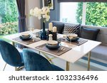 stylish blue and white dining... | Shutterstock . vector #1032336496