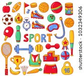 sport fitness  doodle colorful... | Shutterstock .eps vector #1032349306