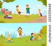 colored carton kids banner set... | Shutterstock . vector #1032350668