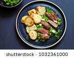 lamb leg steak with crushed... | Shutterstock . vector #1032361000