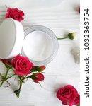 cream cosmetic natural pink... | Shutterstock . vector #1032363754