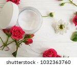 cream cosmetic natural pink... | Shutterstock . vector #1032363760