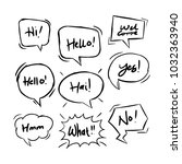 handdrawing balloon speech... | Shutterstock .eps vector #1032363940