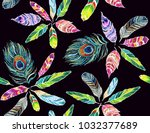 embroidery colorful seamless... | Shutterstock .eps vector #1032377689
