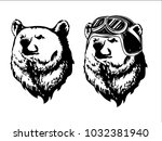 bear in helmet. bear biker.... | Shutterstock .eps vector #1032381940