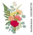 bouquet carnation schabaud ... | Shutterstock .eps vector #1032382720