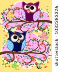 happy family of owls on... | Shutterstock .eps vector #1032383326