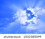 the sun in form of six pointed... | Shutterstock . vector #1032385099
