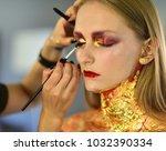 beauty model getting art make...   Shutterstock . vector #1032390334